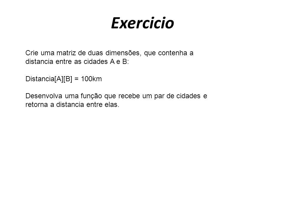 Exercicio Crie uma matriz de duas dimensões, que contenha a distancia entre as cidades A e B: Distancia[A][B] = 100km.